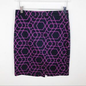 J. Crew Factory Purple Pencil Skirt Geometric 6